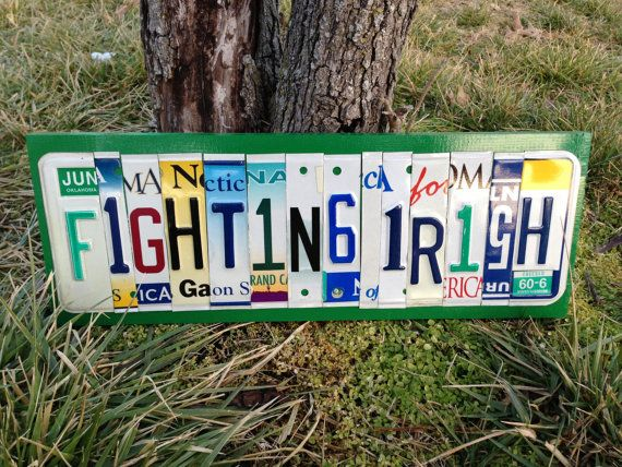 FIGHTING IRISH Custom Recycled License Plate by CustomPlateArt4U, $75.00