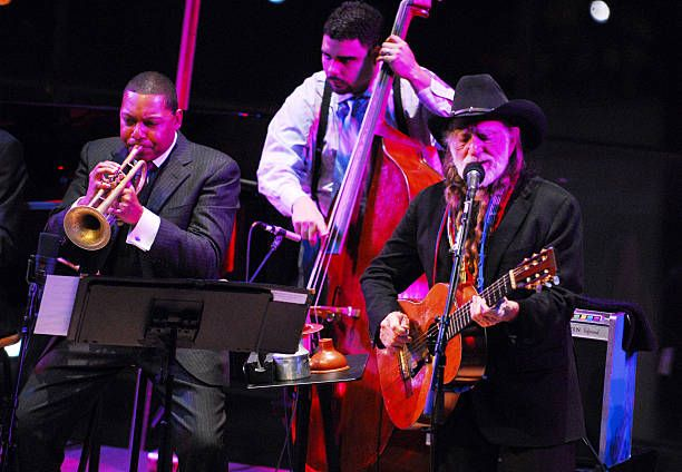Wynton Marsalis and Willie Nelson during Willie Nelson and Wynton Marsalis in Concert Jazz At Lincoln Center in New York City at Jazz At Lincoln...