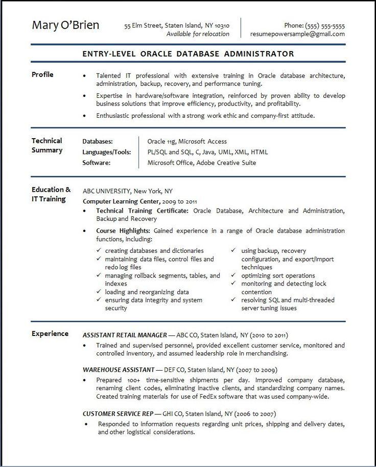 29+ Database administrator resume sample monster Resume Examples