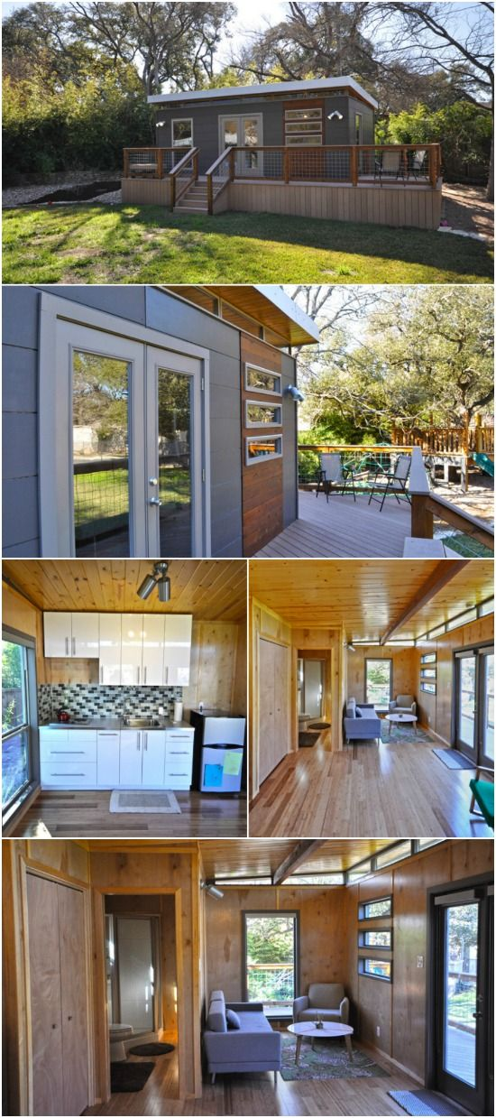 14x24 Modern Cabin-Style Tiny House by Kanga Room Systems - This next tiny house by Kanga Room Systems is a 14x24 modern cabin with a large attached deck for outdoor entertaining. This is a slightly larger floor plan than the other models that we've shared from this company so it gives a little extra room for features. You still have the clean lines of the other modern cabin with the slightly slanted roof and wood accents against the wood siding.