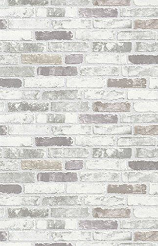 NEW LUXURY ERISMANN BRIX GREY BRICK WALL EFFECT EMBOSSED TEXTURED VINYL WALLPAPER 6703-10: Amazon.co.uk: Kitchen & Home