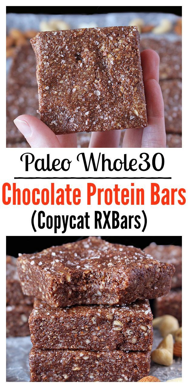 Paleo Chocolate Protein Bars (Copycat RXBars)- easy, no bake, and so delicious! Whole30 and gluten free.