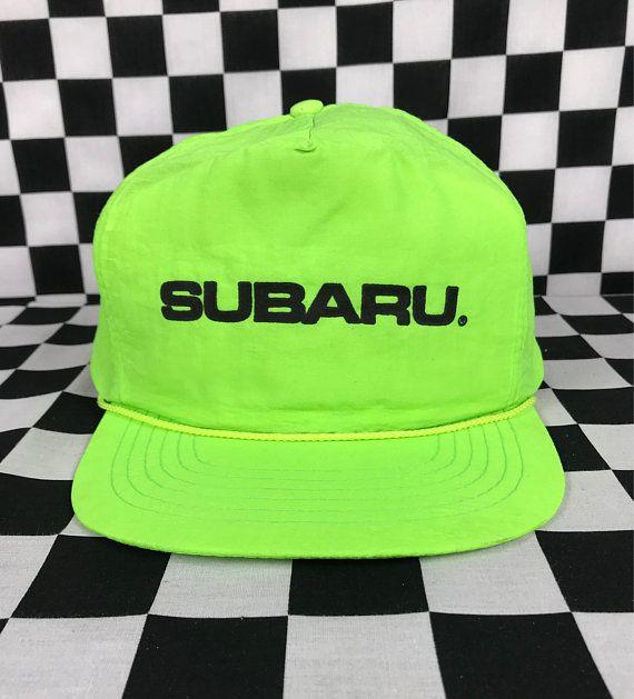 Super cool vintage 80s-90s neon Subaru car adjustable snapback hat! Great  vintage condition 1f4e3cbfbc8