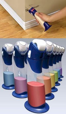 I've got to find these! Paint buddy by Rubbermaid ~ empty remainder can of paint into the paint buddy and touch up when ever you need to