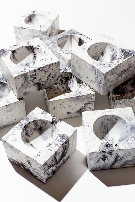 MICRO ORB Marblized Concrete Bowl / Mens ring por INSEKDESIGN