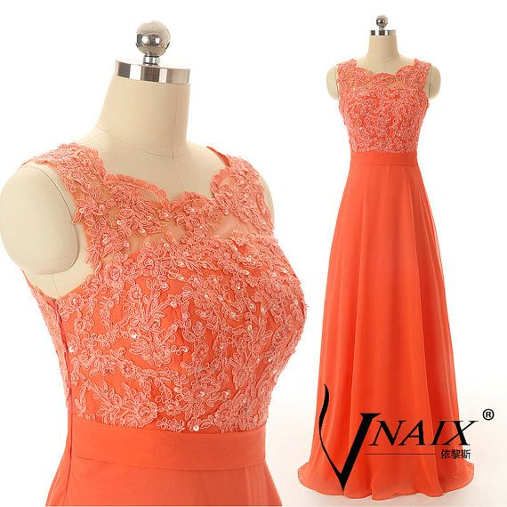 Elegant Custom Made O Neck See Through Tulle Back with Bow Sash A Line Long Chiffon Formal Orange Lace Prom Dresses 2014 Evening Dresses