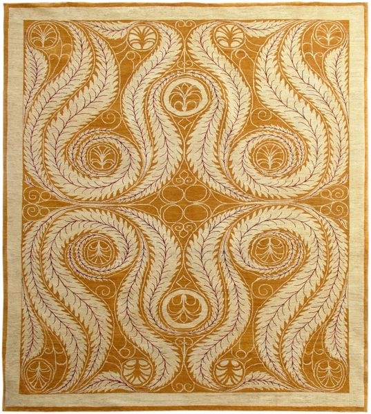 A nearly square carpet with a bold design of feathers curling, in yellow  F21-