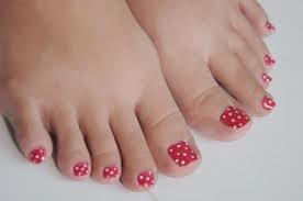 cute little red polka dot toe nail