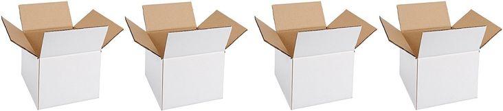 "Aviditi 886W Corrugated Box, 8"" Length x 8"" Width x 6"" Height, Oyster White (Bundle of 25) (4-(Bundle of 25))"