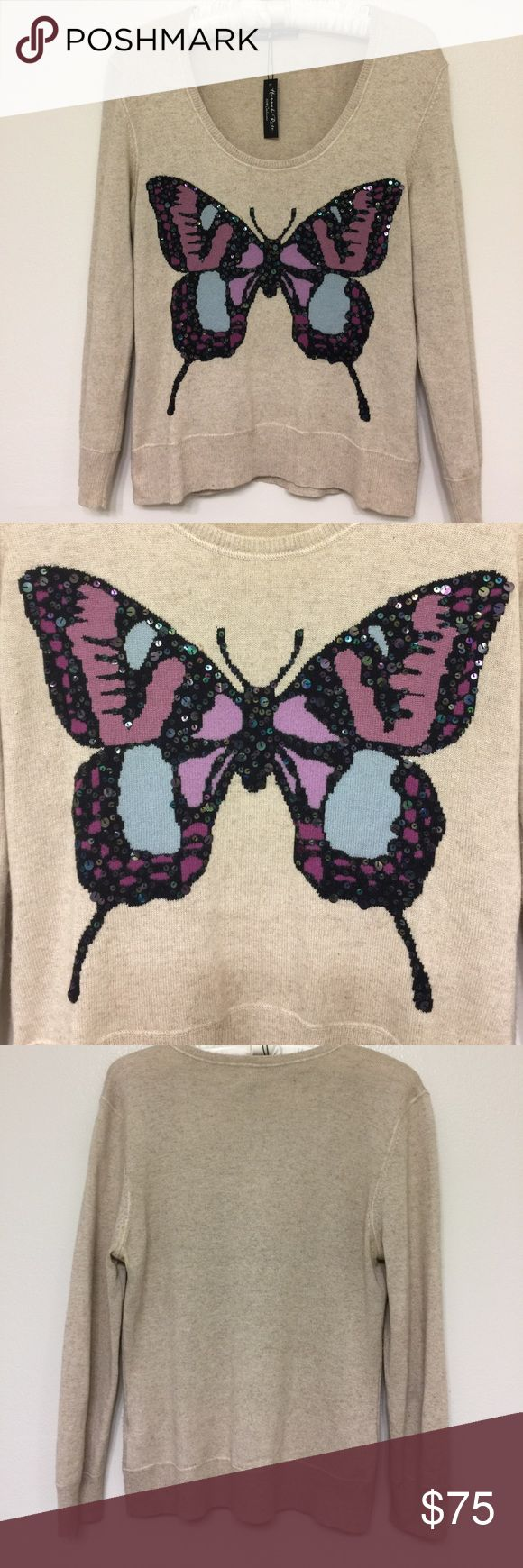 Hannah Rose Cashmere Sweater Hannah Rose 100% Cashmere  Sweater w/ sequined butterfly print. Size Medium. hannah rose Sweaters Crew & Scoop Necks