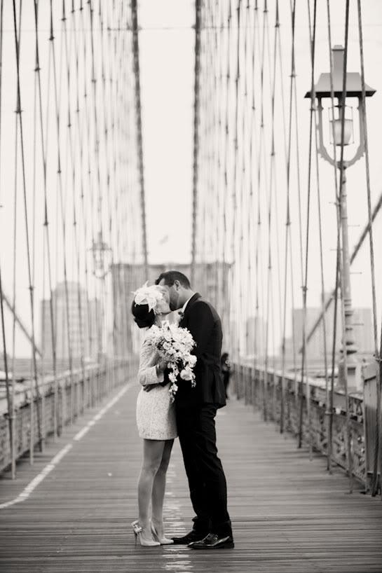 A wedding photo shoot on a bridge makes an iconic #CityWedding shot.