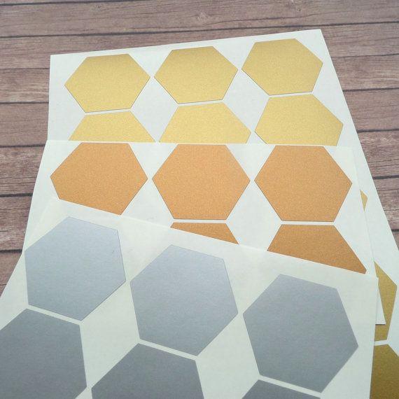 40 Sechskant-Aufkleber Sechskant-Dekorbogen von PolkaDotssandMore