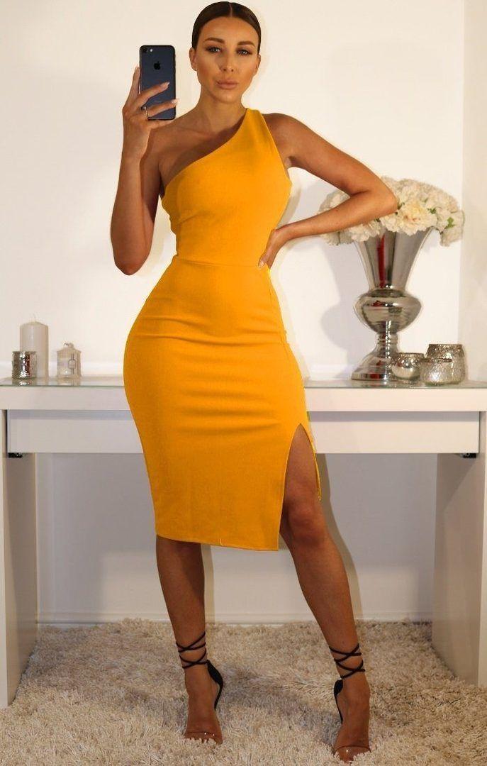0a5012831a67 MUSTARD ONE SHOULDER MIDI DRESS Midi Dress Outfit, Yellow Midi Dress, Fitted  Midi Dress