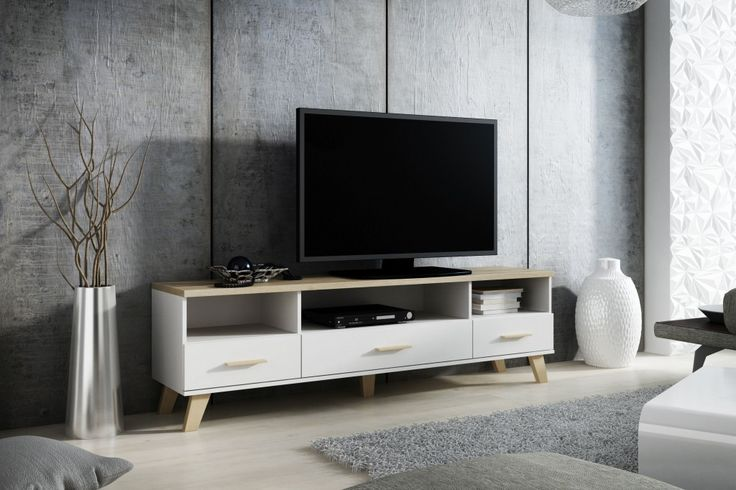 LOTTA szafka pod telewizor biała STYL SKANDYNAWSKI