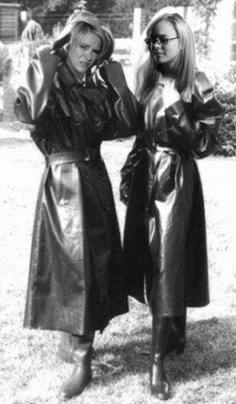 Vintage Black Rubber Raincoats