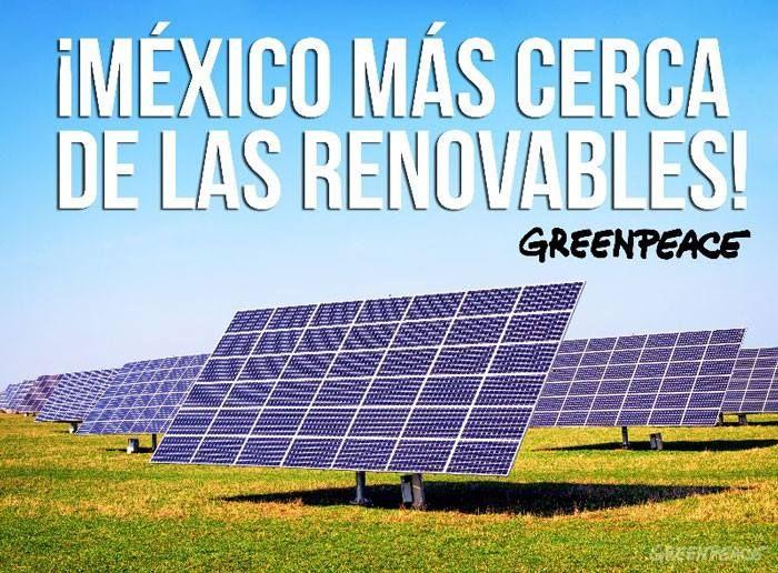 México más cerca de las renovables.  Senadores y diputados aprobaron la Ley de Transición Energética que acerca a México a las renovables. ¡Celebremos!   Con esta ley, nuestro país está más cerca de alcanzar un futuro en el que el 100% de la energía se genere a partir del sol y del viento.