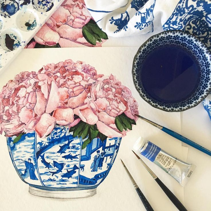"""528 Likes, 16 Comments - Michelle Grayson (@sproutgallery) on Instagram: """"New pretty pale pink peonies in bowl print. . . . #peonies #blueandwhite #sproutgallery…"""""""