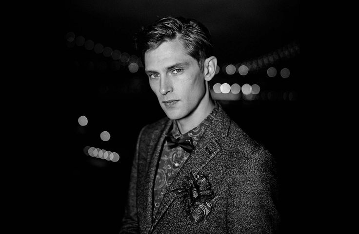 He looked into the night with confident cognisance...  A bow tie denim shirt by Scotch & Soda.