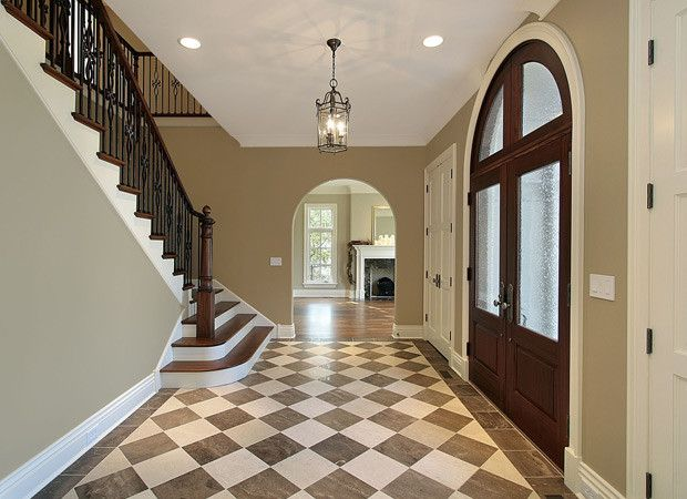 Brown tan checkered foyer tile floors flooring by for Foyer flooring ideas