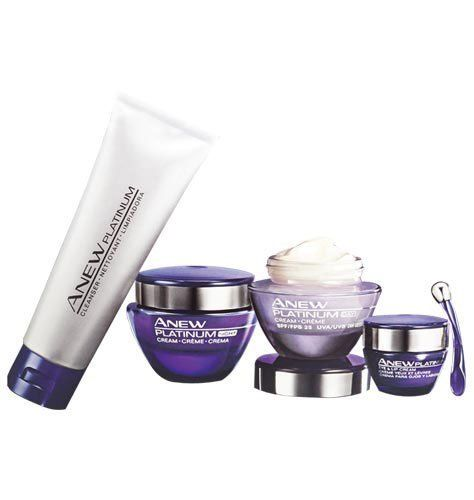 Avon Anew Platinum Recontouring System Kit 4 FULL SIZE PRODUCTS by Avon. $69.95. Avon Anew Platinum FULL SIZE Recontouring System - 4 Products Included. Everything you need to cleanse, moisturize and treat, morning & night. Visibly reshape youthful contours! Kit includes: Cleanser: Rich-textured, creamy lotion cleanser gently removes makeup and impurities. 4.2 fl. oz. A $16 value. Day Cream: SPF 25 Reshapes the look of your neck for a more youthful look and dramatica...