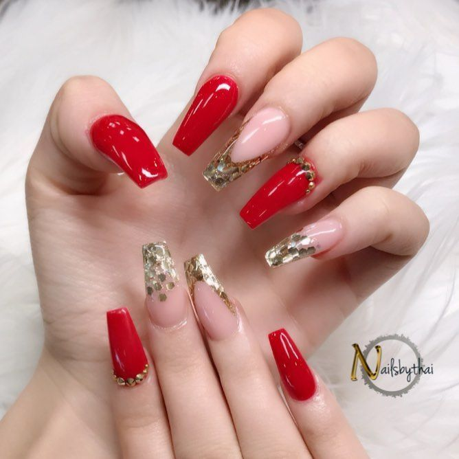 Quincenera Gold Acrylic Nails Red And Gold Nails Red Acrylic Nails