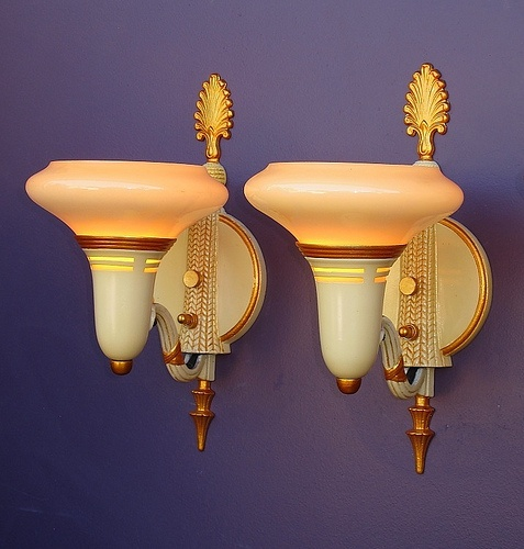 Vintage Wall Sconces With Custard Bowl Shades #vintage #sconces #deco Http:/