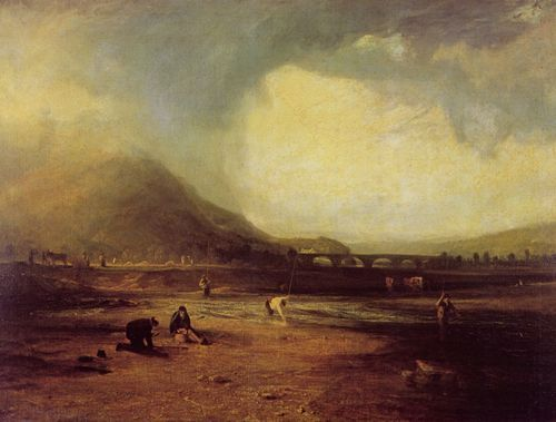 Turner, Joseph Mallord William: Forellenangeln im Dee, Corwen Brücke und Landhaus (Trout Fishing in the Dee, Corwen Bridge and Cottage)
