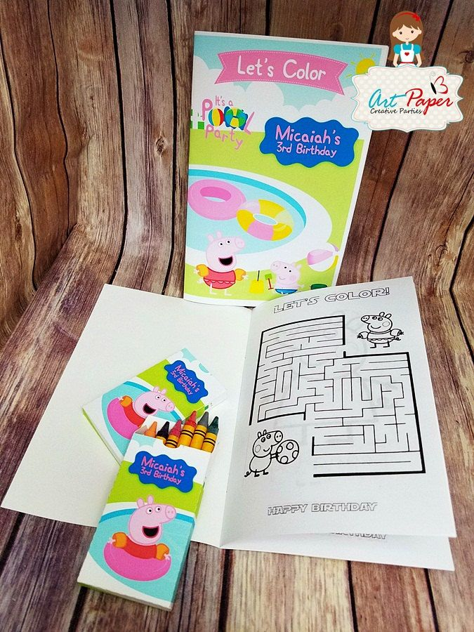 10 peppa pig coloring book or coloring kit with crayons and book pool party favors