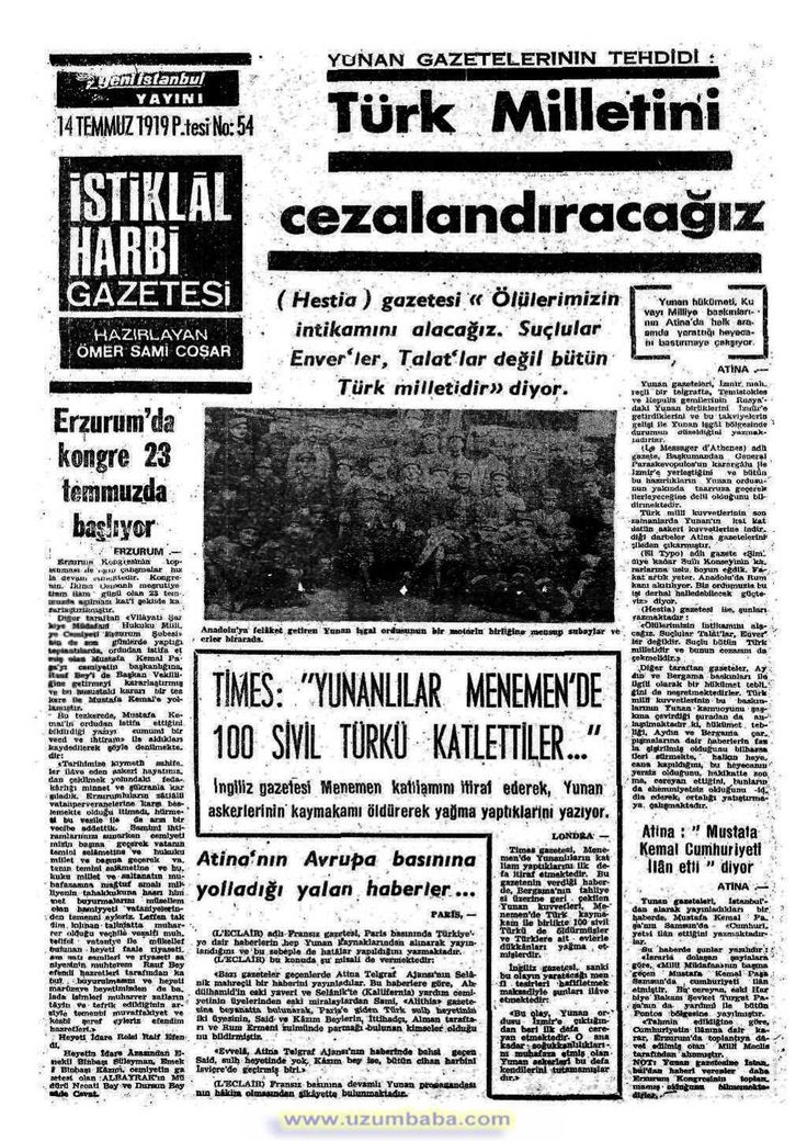 istiklal harbi gazetesi 14 temmuz 1919