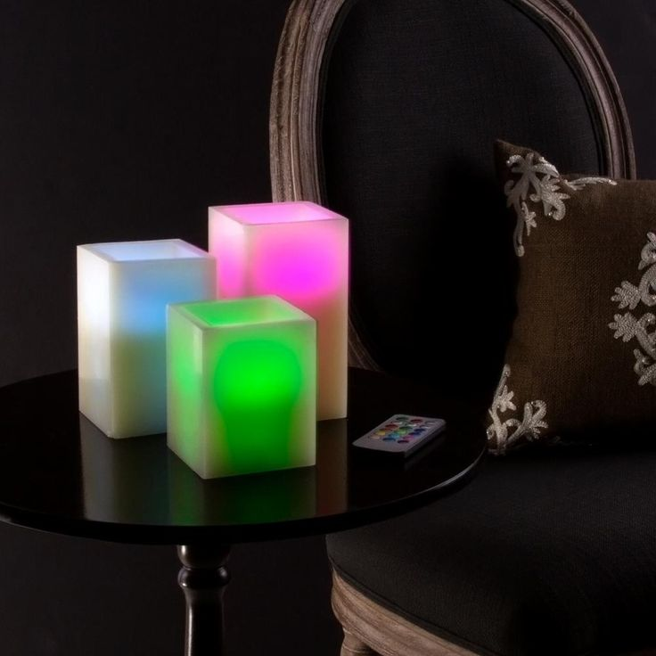 5.75 in. H Color Changing Square LED Flameless Candle with Remote (3-Pack), Ivory