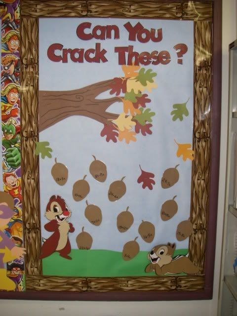 Fall Bulletin Board: Solve the math problems on the acorns. (Or riddles or jokes)
