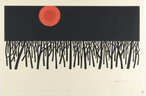 Saito Kiyoshi (1907-1997) Yuki, yuhi (Snow, sunset)  Woodcut, 1975   Kiyoshi Saito (1907-1997), Snow, Sunset (detail), 1975, Gif...