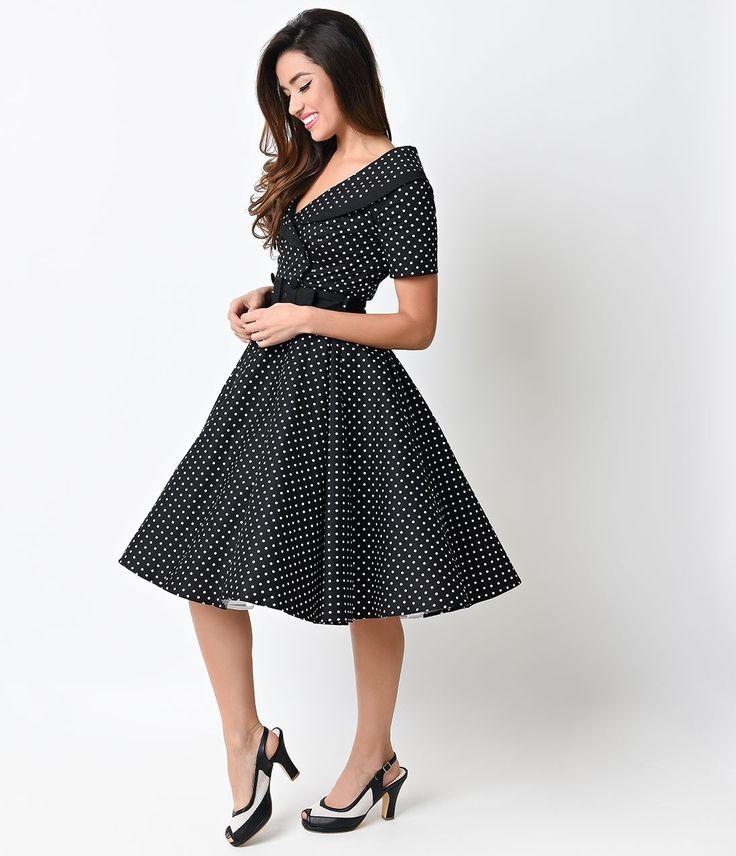1950s Style Black & White Dot Mimi Swing Dress
