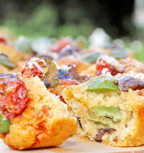 olive fetta tomato muffins
