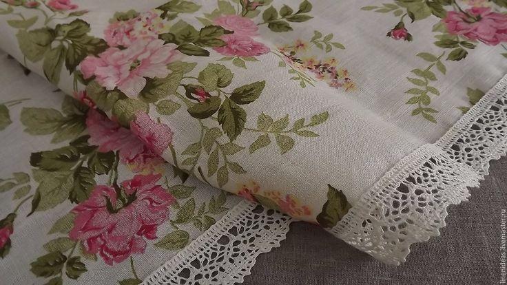 Купить Столешница Шиповник розовый - скатерть, столешница, льняная ткань, лен 100%, кружево