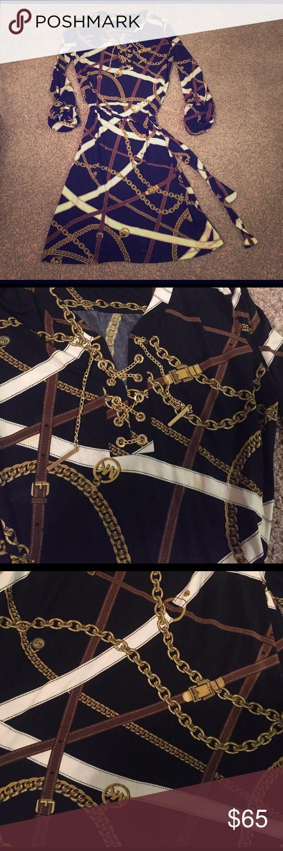 MICHAEL KORS CHAIN DRESS Michael Kors gold accent chained up dress. Belted. Michael Kors Dresses Long Sleeve