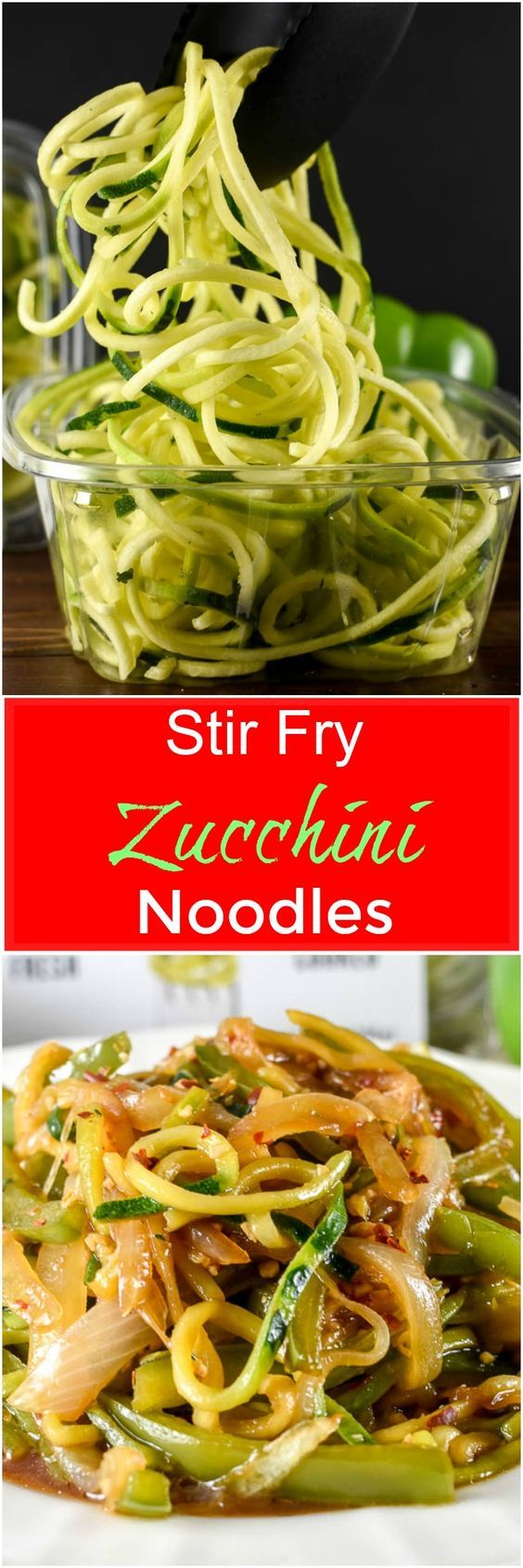 Stir Fry Zucchini Noodles, or zoodles, make a quick and easy low carb side dish that does not require a Spiralizer and is loaded with Asian-inspired flavor. #ad via @flavormosaic