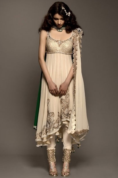 Cream & gold Salwar kameez