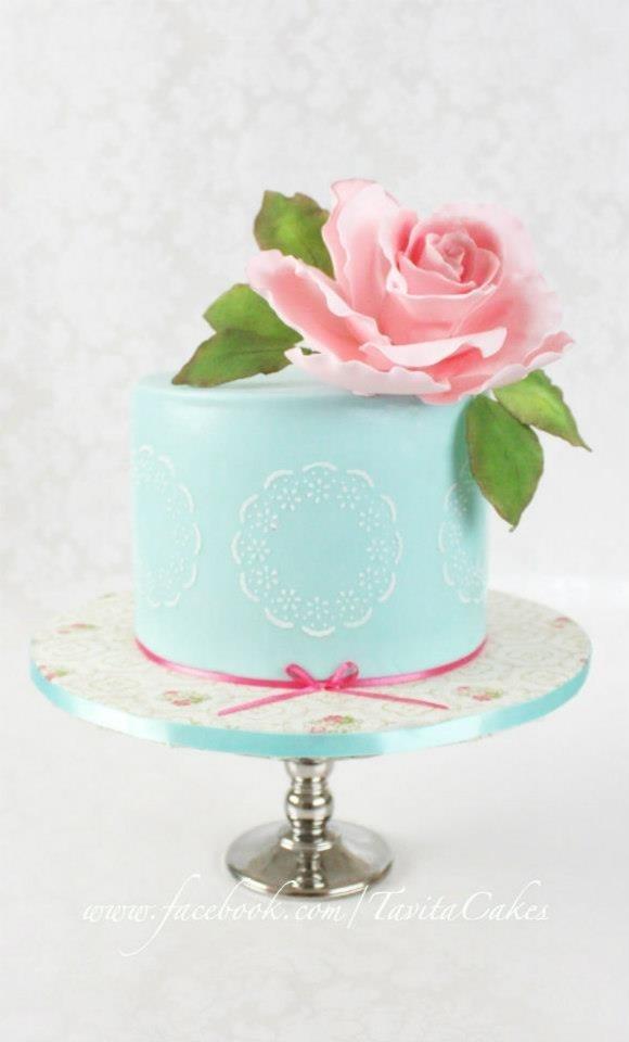 shabby chic bridal shower cakes%0A Shabby chic wedding cake turquoise