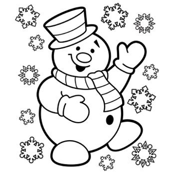 Snowman Coloring Page - Printable Christmas Coloring Pages for Kids