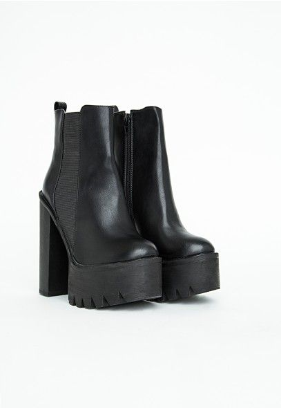 Rosamonde Extreme Platform Chelsea Boots - Footwear - Heels - Missguided all black chunky 90's punk rave goth boots