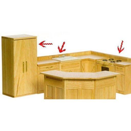 AZTEC MINIATURES - 1 Inch Scale Dollhouse Miniature Kitchen Furniture - Appliance Set 3 pcs Oak (AZT4261)