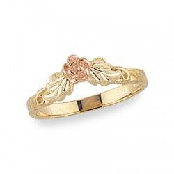 Ladies Black Hills Gold Rose Ring