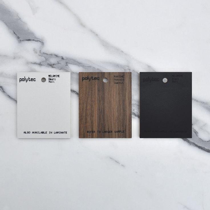 A colour palette of elegance and sophistication. Amaro Matt, Notaio Walnut Ravine and Black Matt