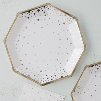 These gorgeous gold foiled Star Paper Plates are perfect for any party or celebration!