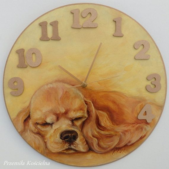 American cocker spaniel portrait painted clock by CanisArtStudio