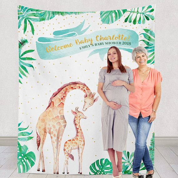 This tropical shower backdrop is the perfect background for your baby jungle themed baby shower! This banana leaf backdrop is totally custom and makes a great little photo opt for your guests! Your tropical themed baby shower will coe together and be the talk of instagram when you order this custom made just for you! What a great baby shower idea!