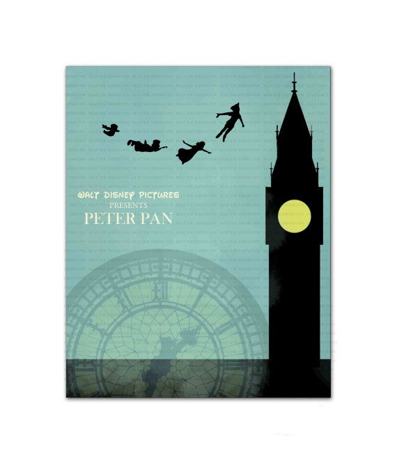 peter pan art childrens nursery art instant download london digital print file minimalist. Black Bedroom Furniture Sets. Home Design Ideas
