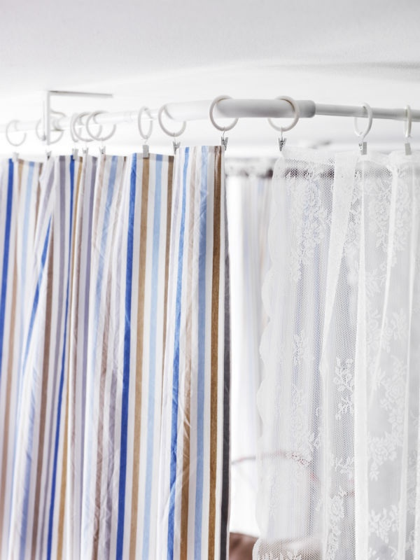 Since This Curtain Rod Can Be Mounted To The Ceiling You Use Curtains As Room Dividers Smart Solutions Bathroom Diy