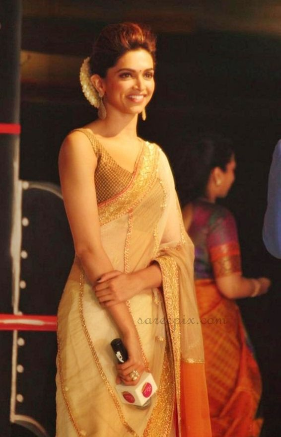 "Deepika padukone transparent saree stills at ""Chennai express"" promotion in chennai | Beautiful saree and lehenga pictures"